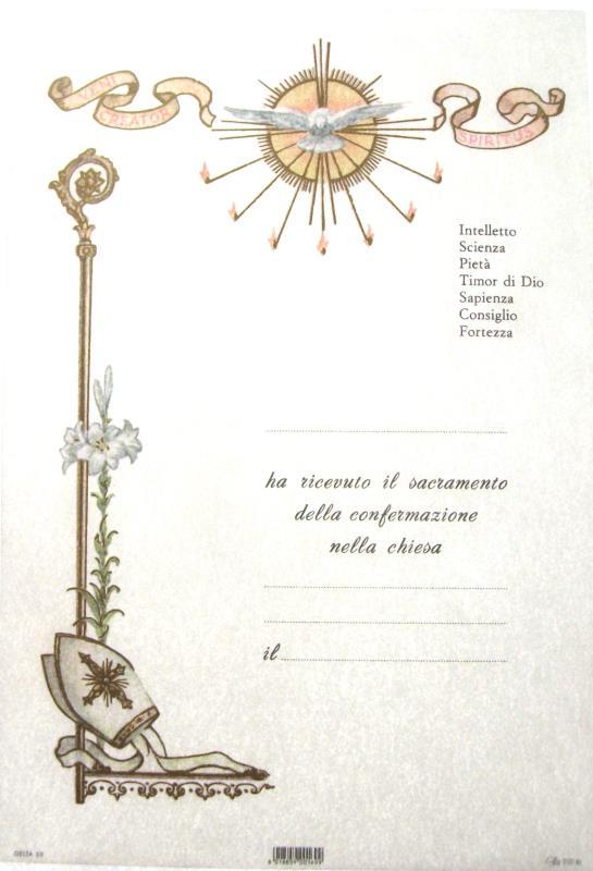 Top PERGAMENA 17X25 CM RICORDO SACRAMENTI - CRESIMA SPIRITO SANTO 58  IV68