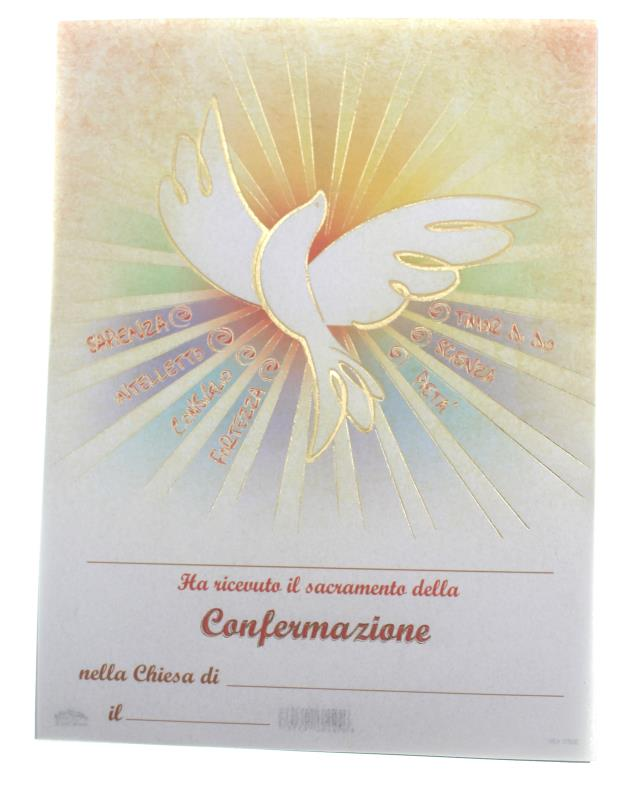 Amato PERGAMENA 17X25 CM RICORDO SACRAMENTI - CRESIMA COLOMBA SPIRITO  WO91