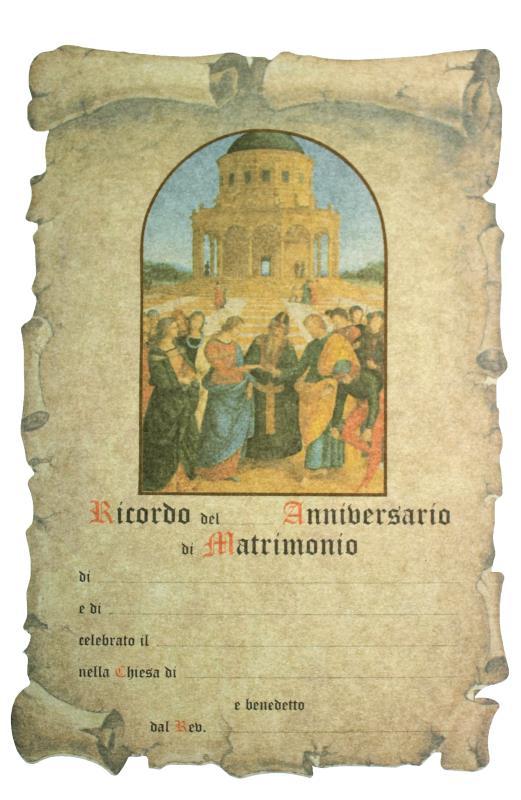 abbastanza PERGAMENA ANNIVERSARIO MATRIMONIO 20X30 Ricordo per Sacramenti  LY81