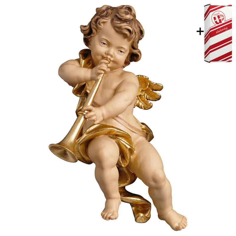putto con trombone + box regalo. 30 cm.scolpito in