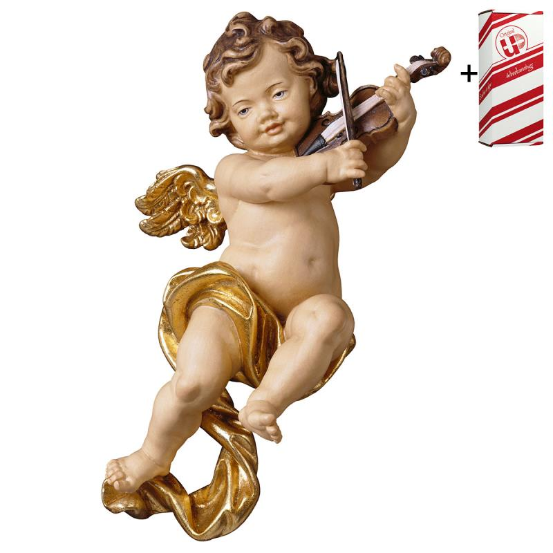 putto con violino + box regalo. 10 cm.scolpito in