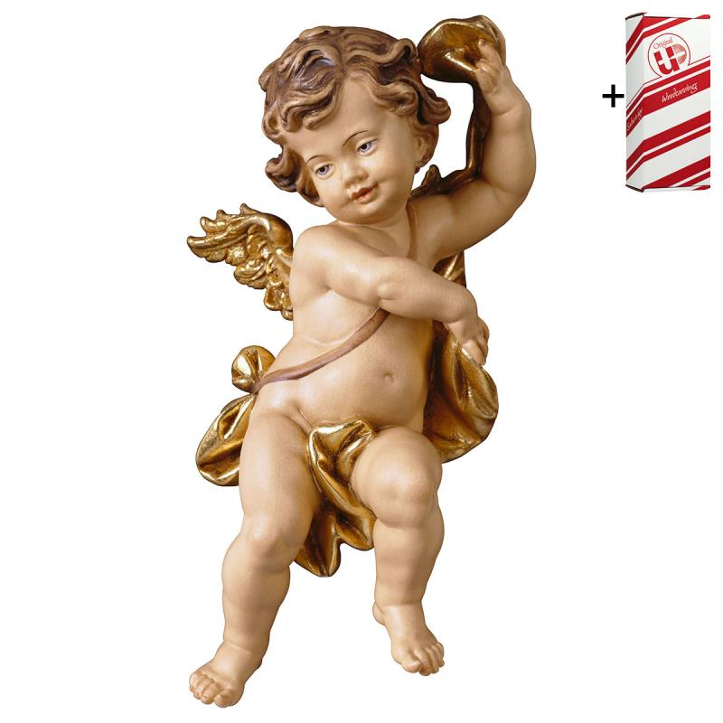 putto con fascia + box regalo. 23 cm.scolpito in l
