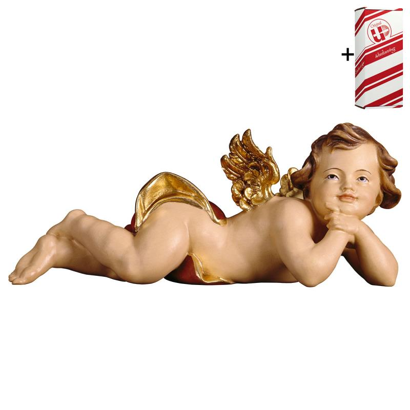 putto sdraiato sinistro + box regalo. 40 cm.scolpi