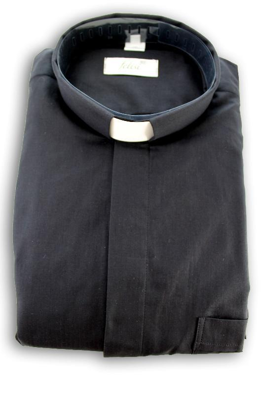Camicia clergy lino e cotone ml - nero
