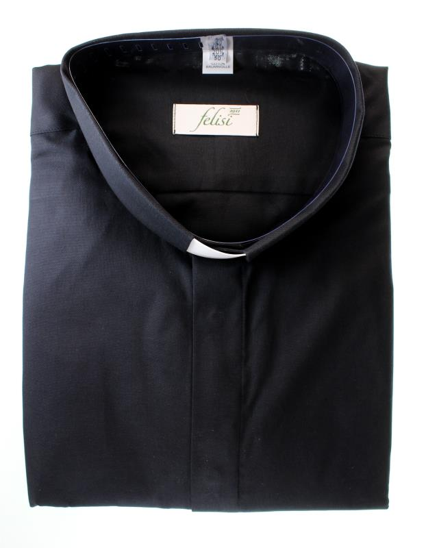camicia clergy cotone piquet nero