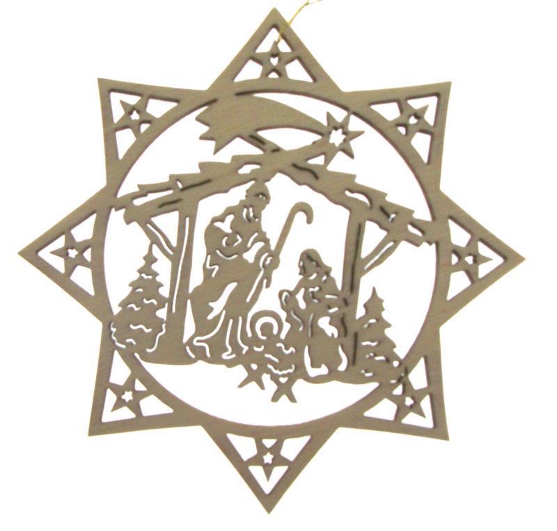 Stella Di Natale Legno.Ciondolo Natalizio In Legno H Cm 6 Stella Di Natale 1 Articoli Regalo Per Natale