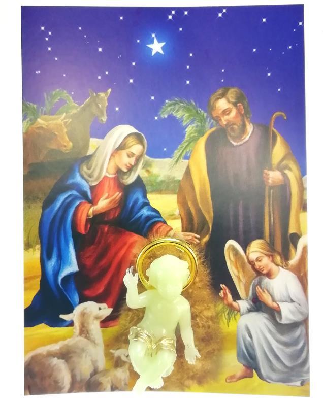 Immagini Gesu Bambino Natale.Cartoncino Con Gesu Bambino Fosforo Articoli Regalo Per Natale