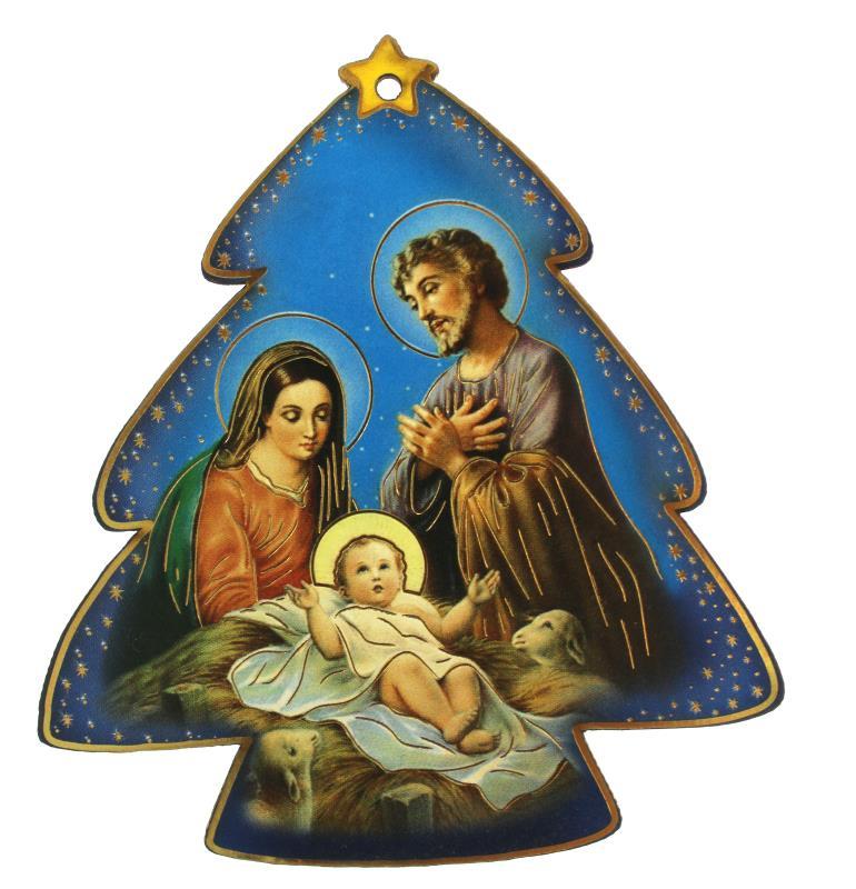 Immagini Sacre Natale.Albero Di Natale Con Sacra Famiglia Cm 9x8 Articoli Regalo Per Natale