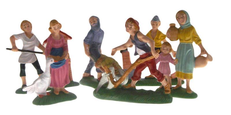 Pastori doppi per presepe cm 10 colorati Presepe tipo legno