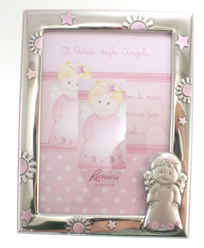 cornice in argento angelo sole stelle cm 17x22 - rosa