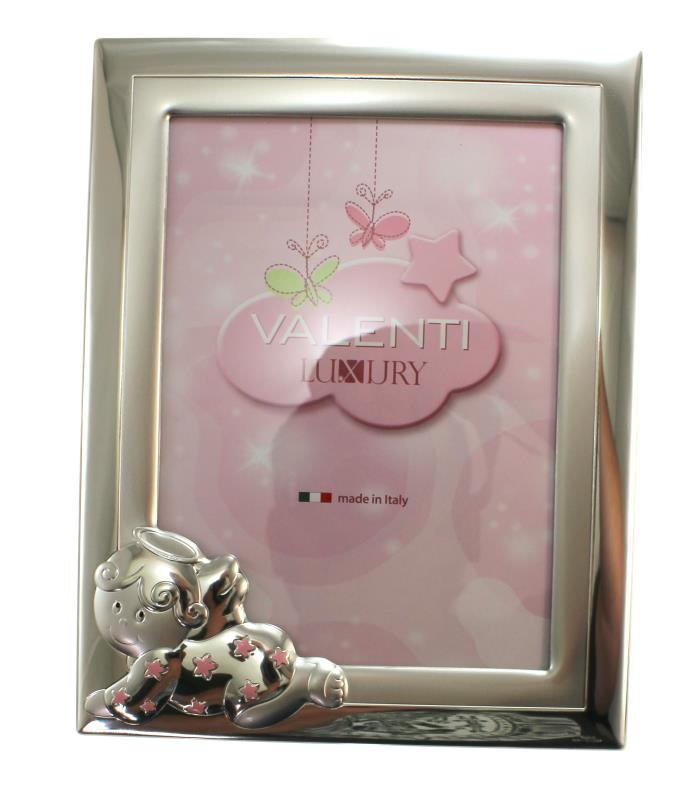 cornice in argento angelo stelle cm 18x24 - rosa