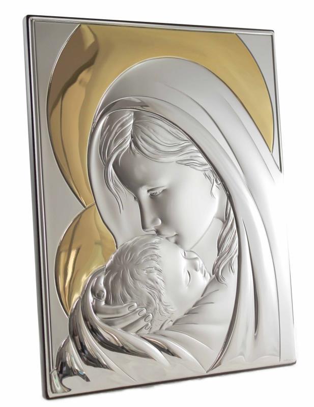 Quadro in argento madonna con bambino - formato 16x21 cm   Semprini ...