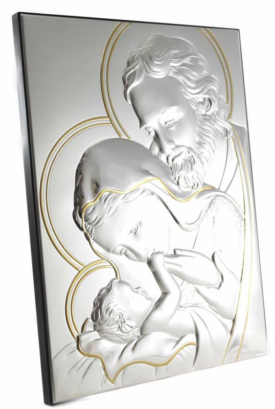 Quadro sacra famiglia in argento - formato 22x30 cm   Semprini ...