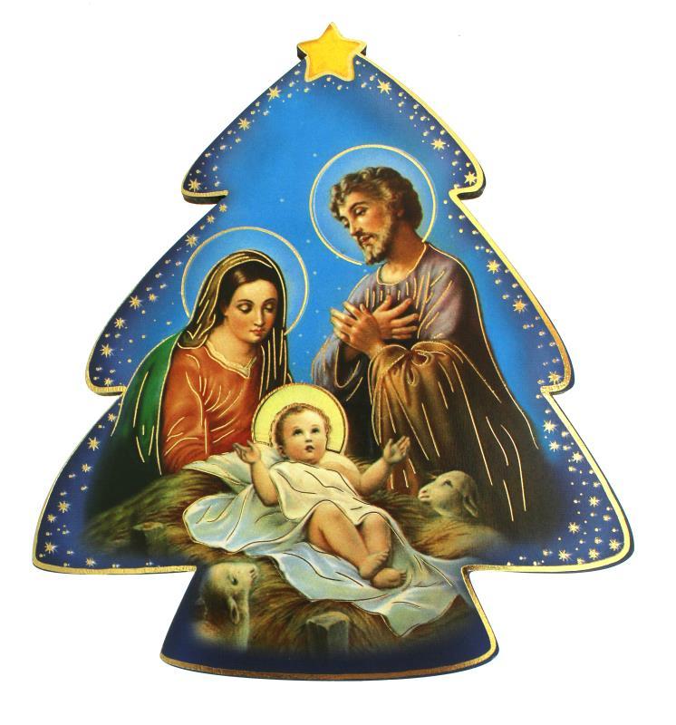 Biglietti Di Natale Religiosi.Albero Di Natale Su Tavoletta 12x11 Cm 1 Vendita Online Su Semprini Arredi Sacri
