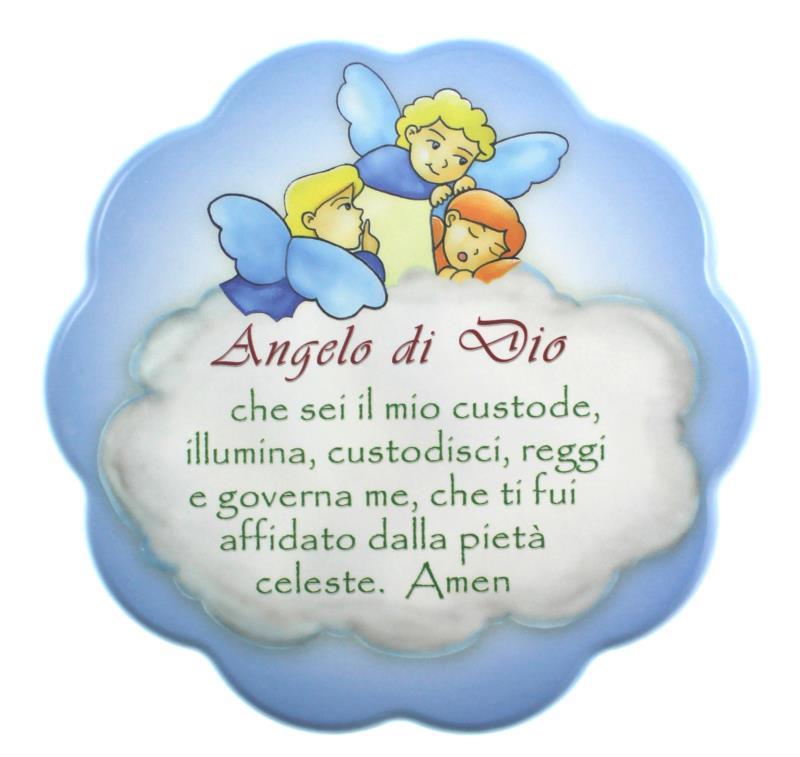 Quadretto bimbi con preghiera 17x17 cm celeste quadretti for Arredi religiosi