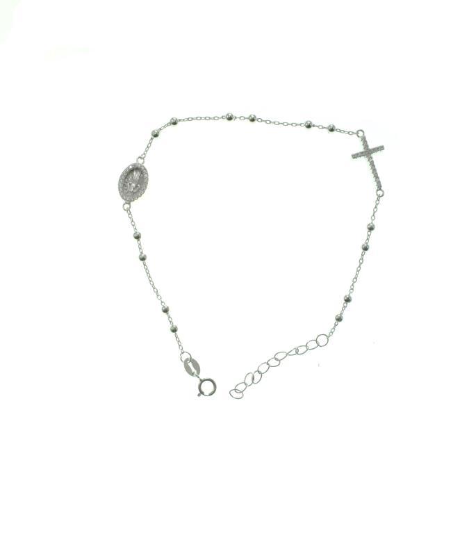 rivenditore all'ingrosso 7bb4e 956c7 Braccialetto rosario argento con croce e medaglia Braccialetti
