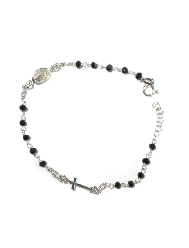 wholesale dealer 6eba8 fed78 Braccialetto rosario argento con croce e medaglia Braccialetti