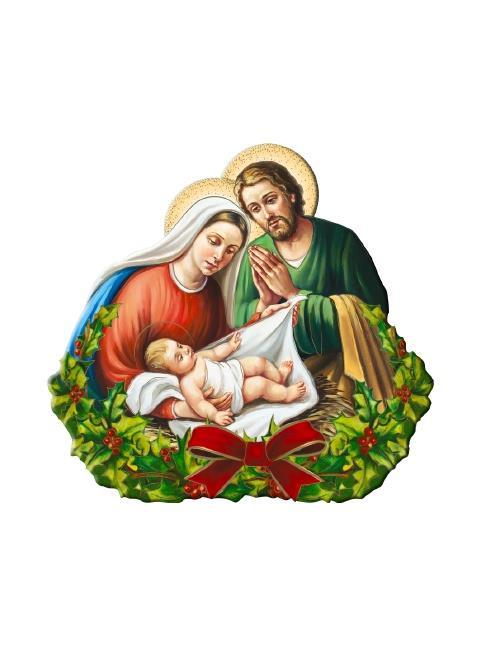 Immagini Sacre Natale.Sacra Famiglia Con Ghirlanda Cm 11x10 Articoli Regalo Per Natale