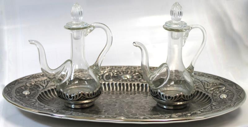 Ampolle vetro base argentata cesellata vendita online semprini