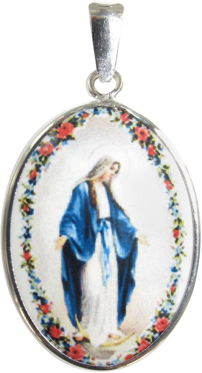 Forma Ovale ed Eail Colorata Interamente Prodotto a Pesante 100/% Made In Lourdes. Medaglia della Vergine Miracolosa in Alluminio