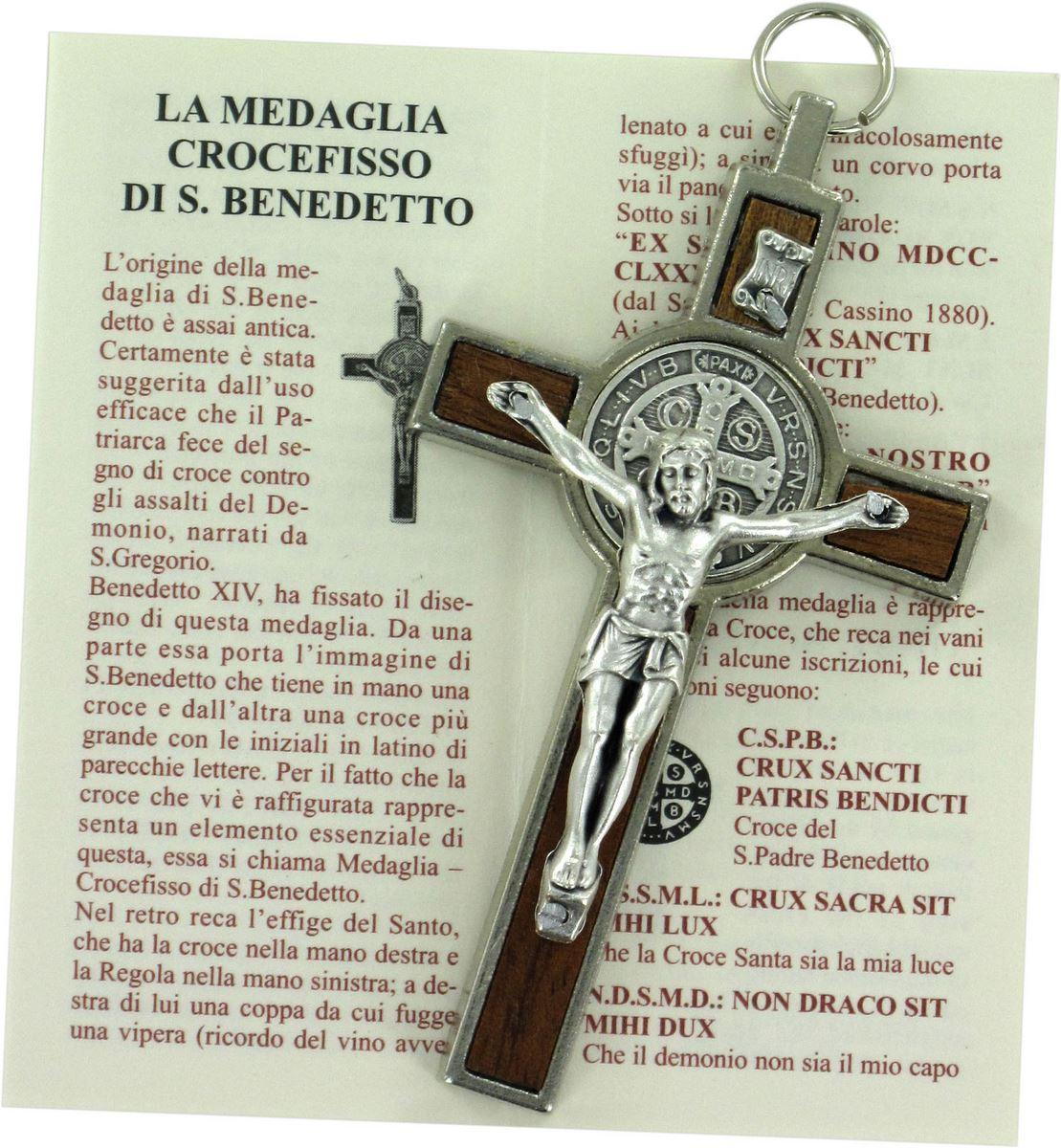 Croce di San Benedetto in legno Cristo in metallo cm 8