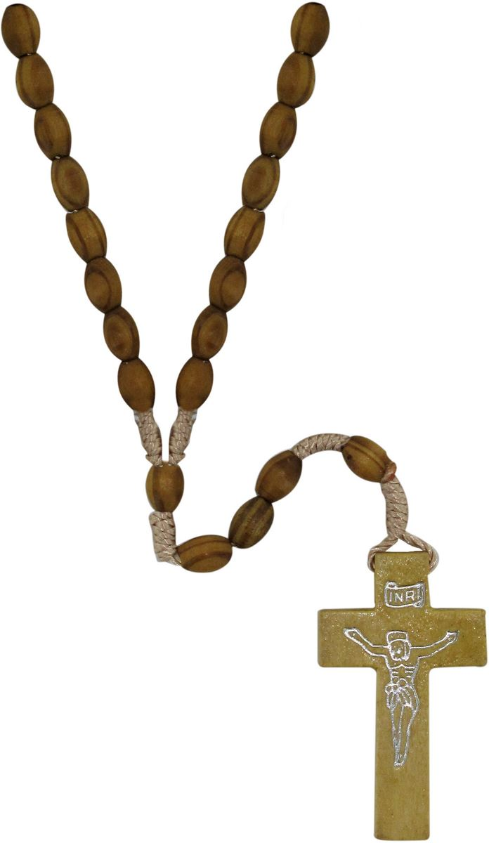 Rosario Sant/'Antonio di Padova in legno con preghiera grani mm 5 legatura seta