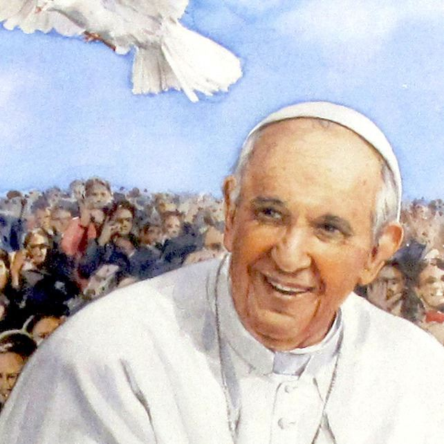 stock:mini poster con immagine papa francesco cm 29,7 x 42