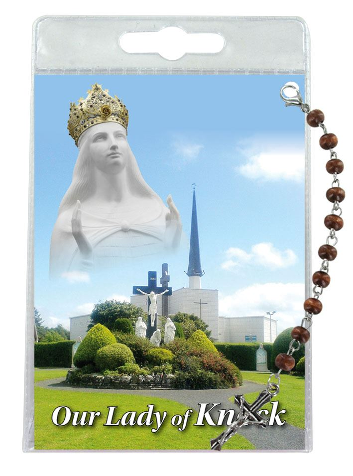 decina di our lady of knock con blister trasparente e preghiera - inglese