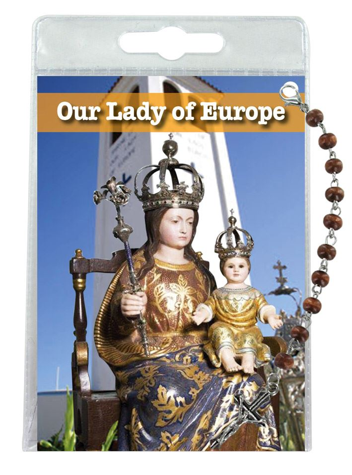 decina di our lady of europe con blister trasparente e preghiera - inglese