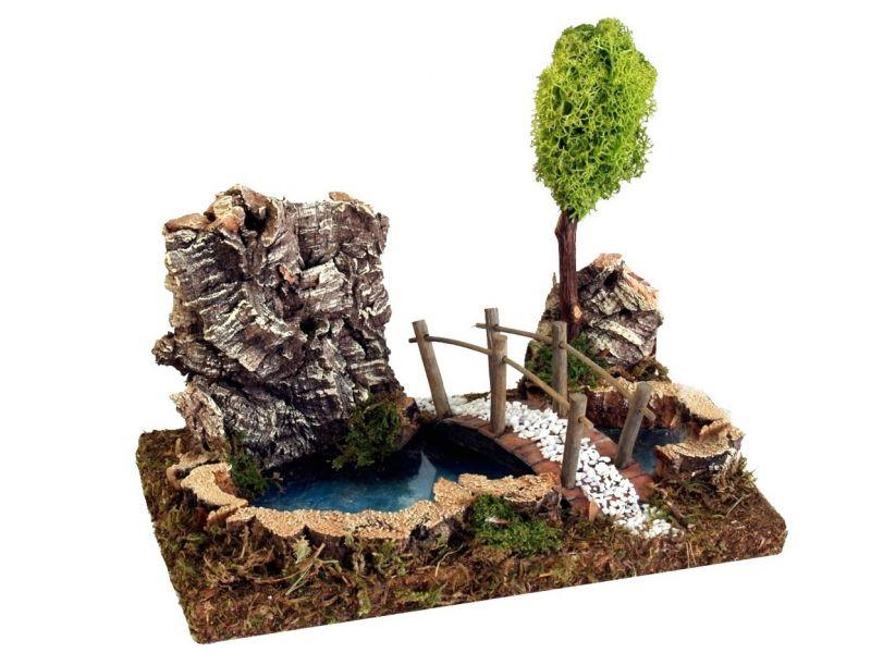 Laghetto con albero e ponticello accessori per presepe for Accessori laghetto