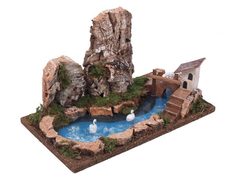 Laghetto con parete rocciosa bertoni presepe linea for Accessori laghetto