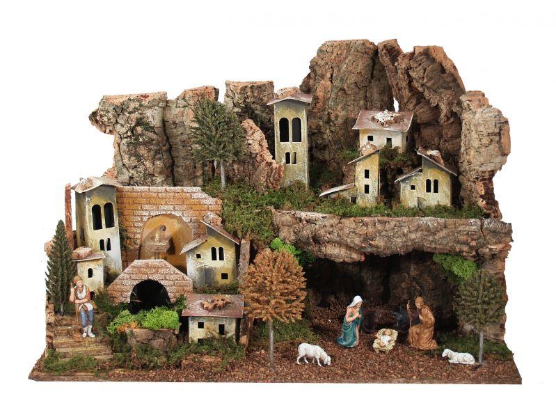 Paesaggio con grotta fontana luci personaggi – bertoni presepe