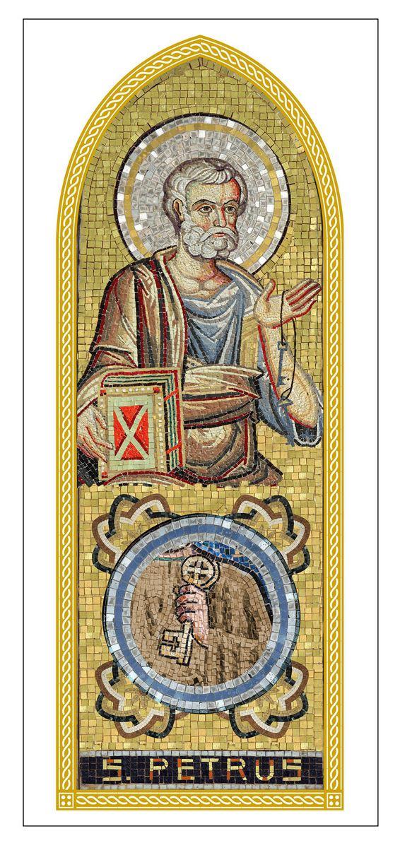 Stock tavola san pietro stampa tipo mosaico su legno - 10 x 27 cm Icone